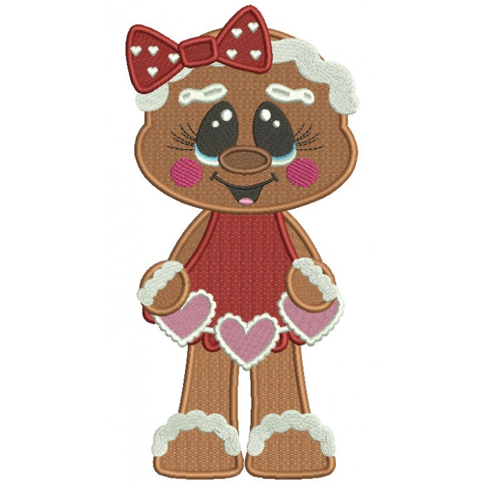Gingerbread Girl With a Cute Bow Holding Hearts Filled Valentine's Day Machine Embroidery Design Digitized Pattern