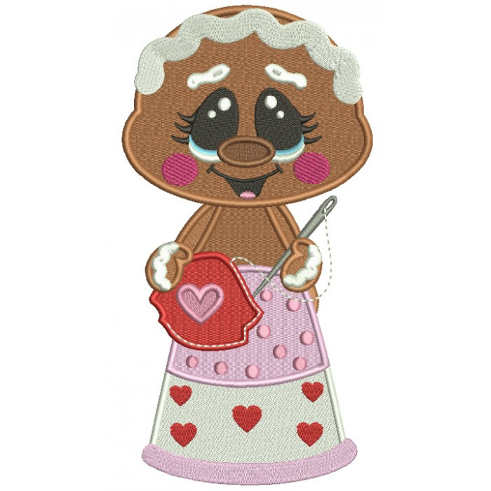 Gingerbread Girl With a Sewing Needle Filled Machine Embroidery Design Digitized Pattern