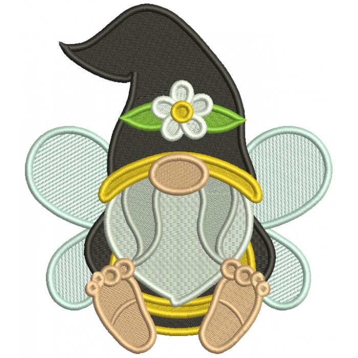 Gnome Bee Wearing Big Hat With a Daisy Filled Machine Embroidery Design Digitized Pattern