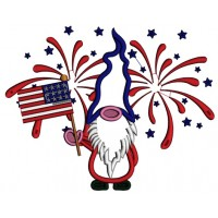 Gnome Holding American Flag Patriotic Applique Machine Embroidery Design Digitized Pattern