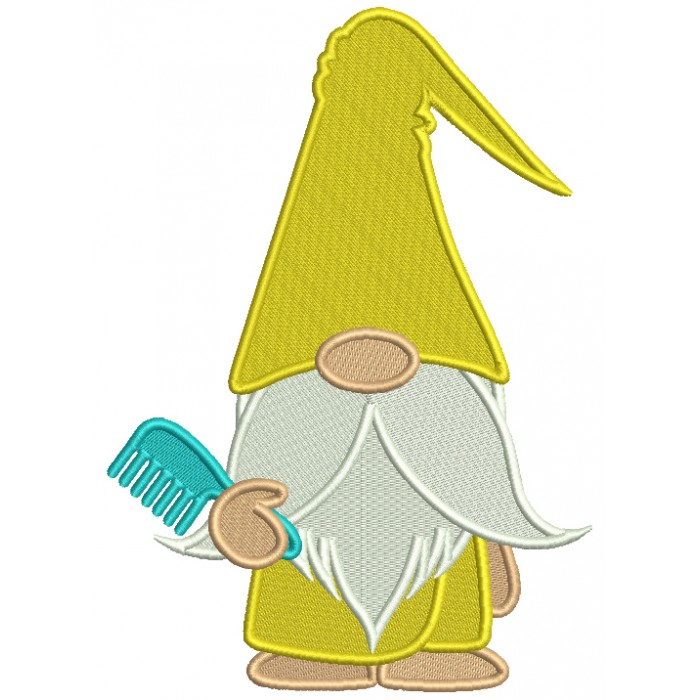 Gnome Holding a Hair Comb Filled Machine Embroidery Digitized Design Pattern