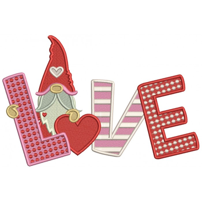Gnome Love With Heart Valentine's Day Filled Machine Embroidery Design Digitized Pattern