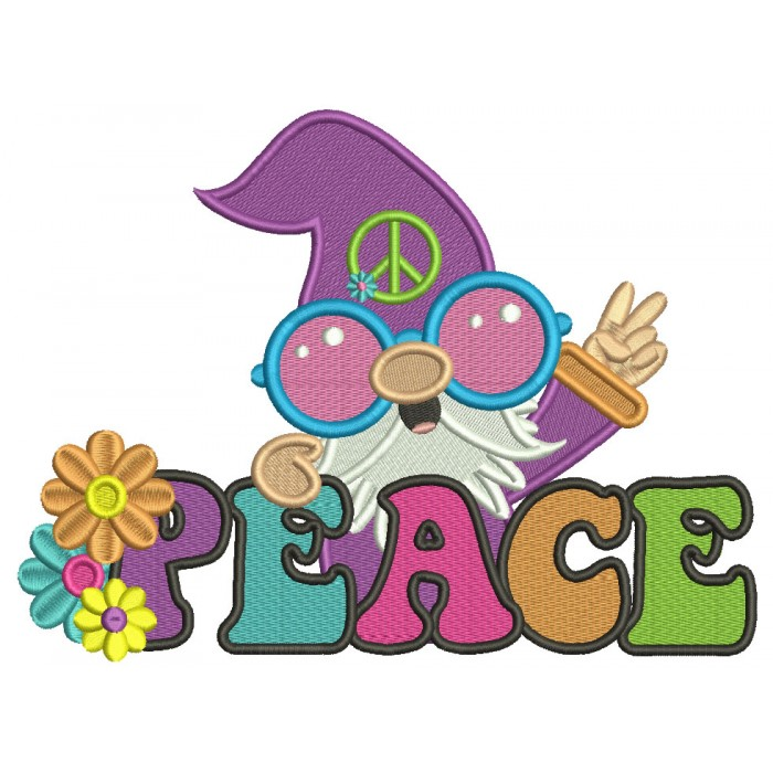 Gnome Peace Sign Filled Machine Embroidery Design Digitized Pattern
