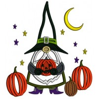 Gnome Wizard Holding Pumpkin With Stars And Moon Halloween Applique Machine Embroidery Design Digitized Pattern