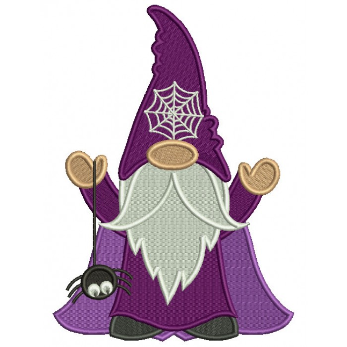 Gnome Wizard Holding a Spider Halloween Filled Machine Embroidery Design Digitized Pattern