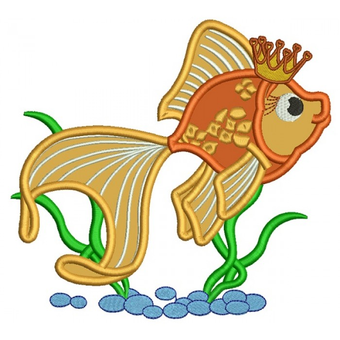 Goldfish Wearing Crown Applique Machine Embroidery Design Digitized Pattern