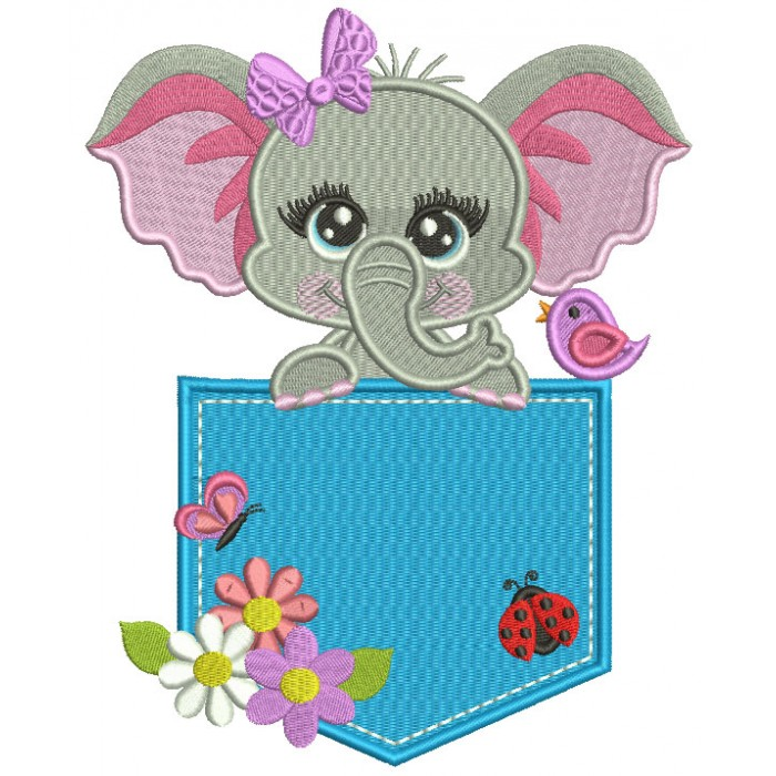 Happy Little Elephant Sitting Inside a Pocket With Ladybug and Flowers Filled Machine Embroidery Design Digitized Pattern