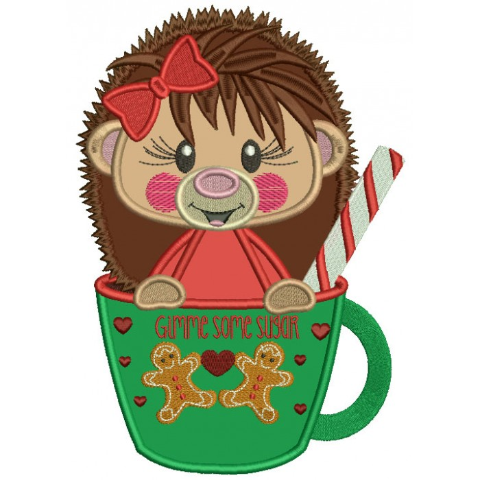 Hedgehog Sitting Inside a Cup Applique Christmas Machine Embroidery Design Digitized Pattern