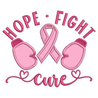 Hope Fight Cure Breast Cancer Awareness Applique Machine Embroidery Design Digitized Pattern