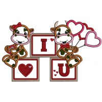 I Love You Two Cute Cows With Hearts Shape Balloons Applique Machine Embroidery Design Digitized Pattern