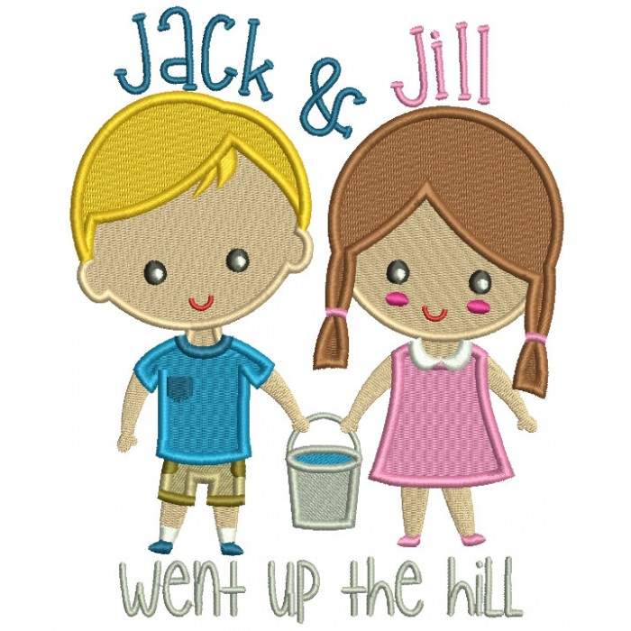 Jack And Jill Wp The Hill Children Rhimes Filled Machine Embroidery Design Digitized Pattern