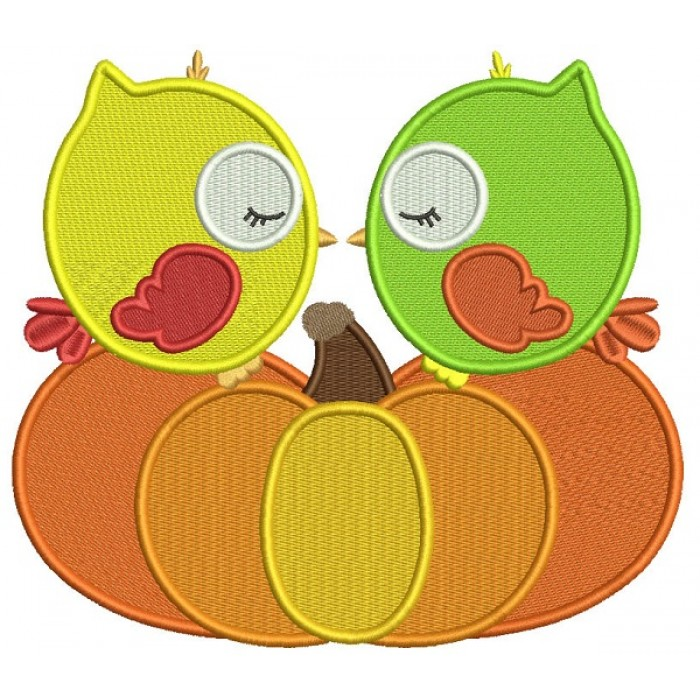 Kissing Birds Sitting On The Pumpkin Filled Machine Embroidery Design Digitized Pattern