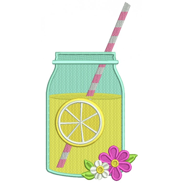 Lemonade Mason Jar With Flowers Filled Machine Embroidery Design Digitized Pattern