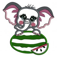 Little Baby Elephant Holding Watermelon Applique Machine Embroidery Digitized Design Pattern