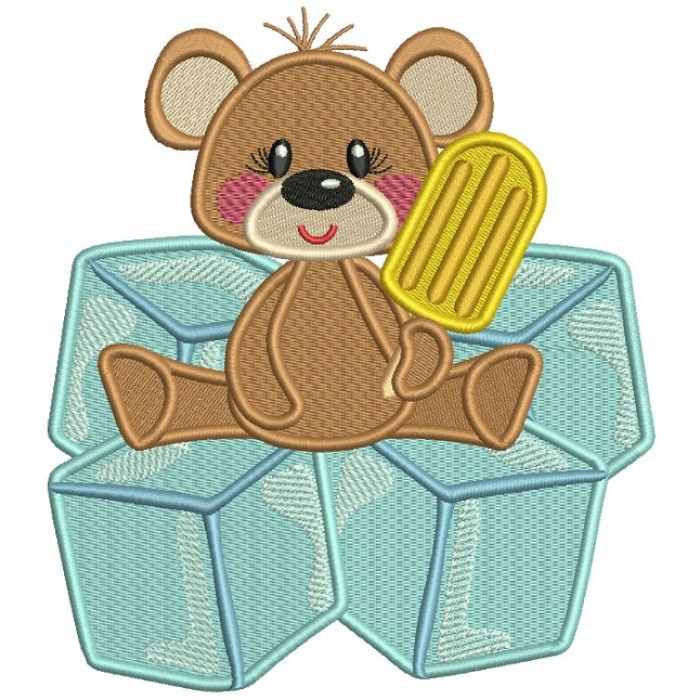 Little Bear Sitting On Cubes Filled Machine Embroidery Digitized Design Pattern