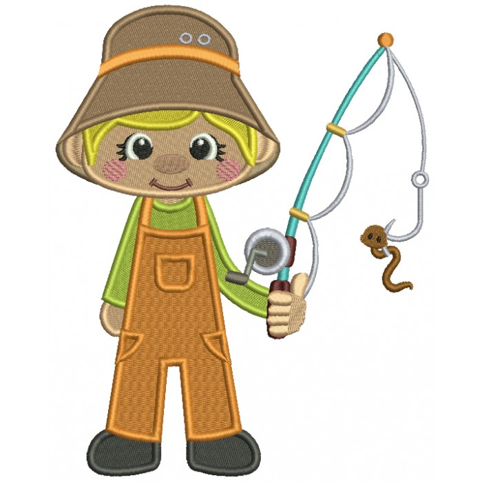 Little Boy Fisherman Filled Medical Embroidery Design Digitized Pattern