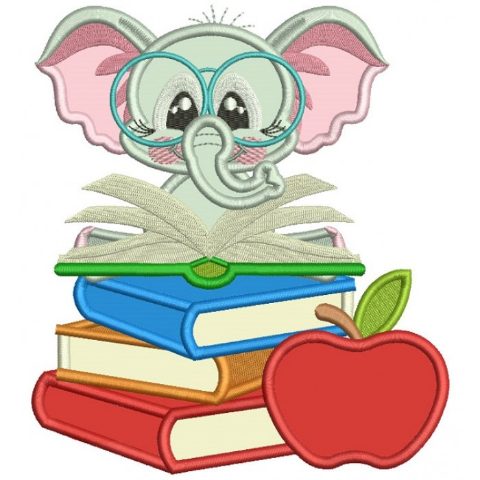 Little Elephant Reading a Book Applique Machine Embroidery Design Digitized Pattern