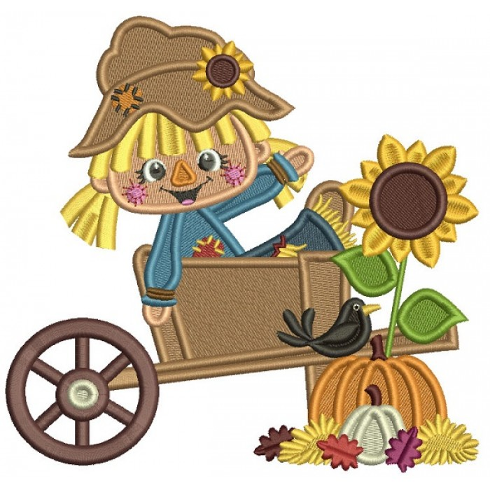 Little Farm Girl Sitting Inside Wagon With Pumpkins And Sunflower Thanksgiving Filled Machine Embroidery Design Digitized Pattern