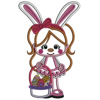 Little Girl Wearing Bunny Ears And Holding Easter Basket Applique Machine Embroidery Design Digitized