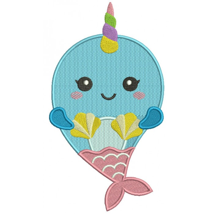 Little Unicorn Whale Filled Machine Embroidery Design Digitized Pattern