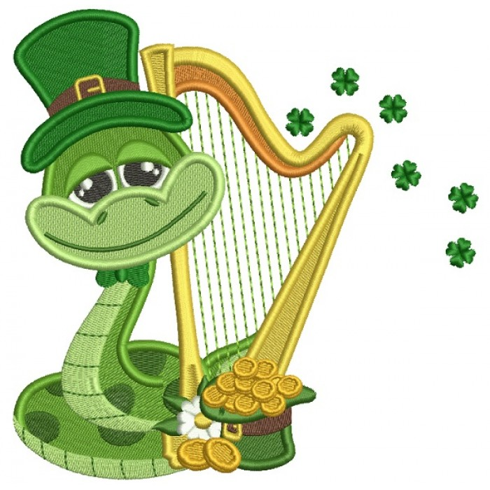 Lucky Snake Wearing Playing Harp St. Patrick's Filled Machine Embroidery Design Digitized Pattern