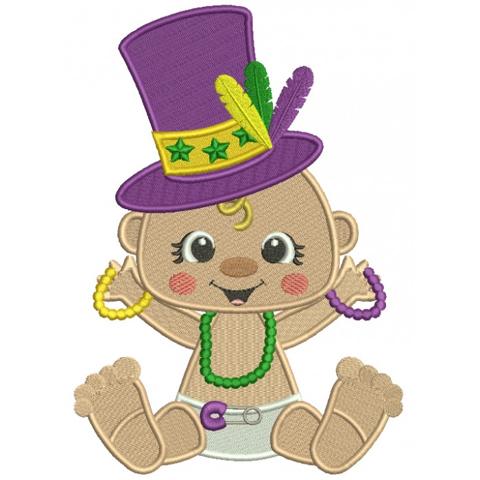 Mardi Gras Baby Holding Beads Filled Machine Embroidery Design Digitized Pattern
