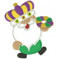 Mardi Gras Gnome Wearing a Crown Applique Machine Embroidery Design Digitized Pattern