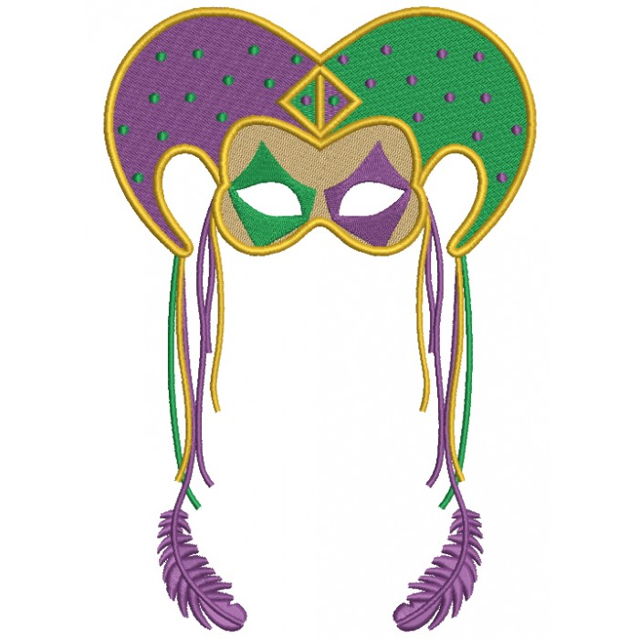 Mardi Grass Jester Hat With Long Feathers Filled Machine Embroidery Design Digitized Pattern