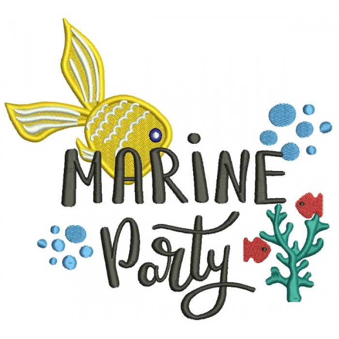 Marine Party Fish Filled Machine Embroidery Design Digitized Pattern