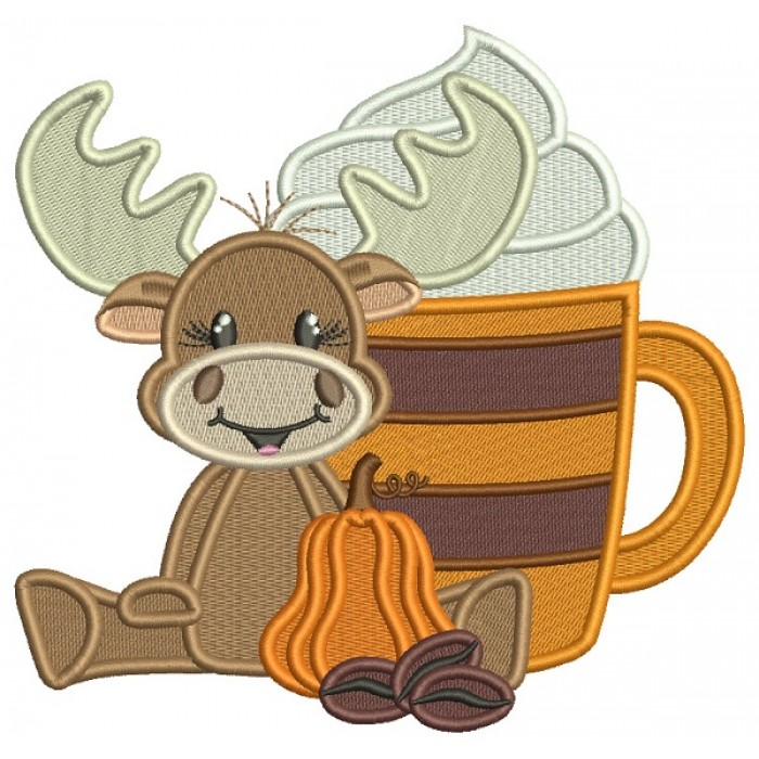 Moose With a Big Coffee Cup Fall Filled Thanksgiving Machine Embroidery Design Digitized Pattern