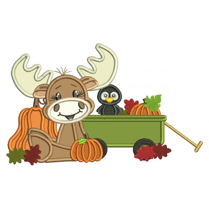 Moose and a Bird At The Pumpkin Patch Fall Thanksgiving Applique Machine Embroidery Design Digitized Pattern