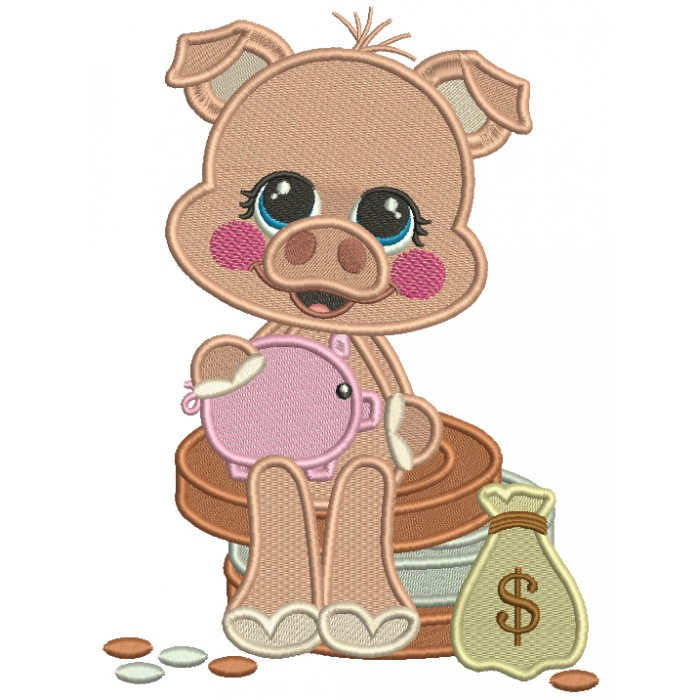 Piggy Sitting On Coins Filled Machine Embroidery Design Digitized Pattern