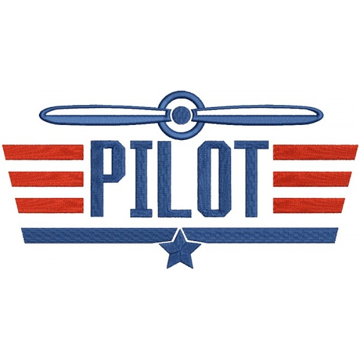 Pilot With Wings Airplane Filled Machine Embroidery Design Digitized Pattern