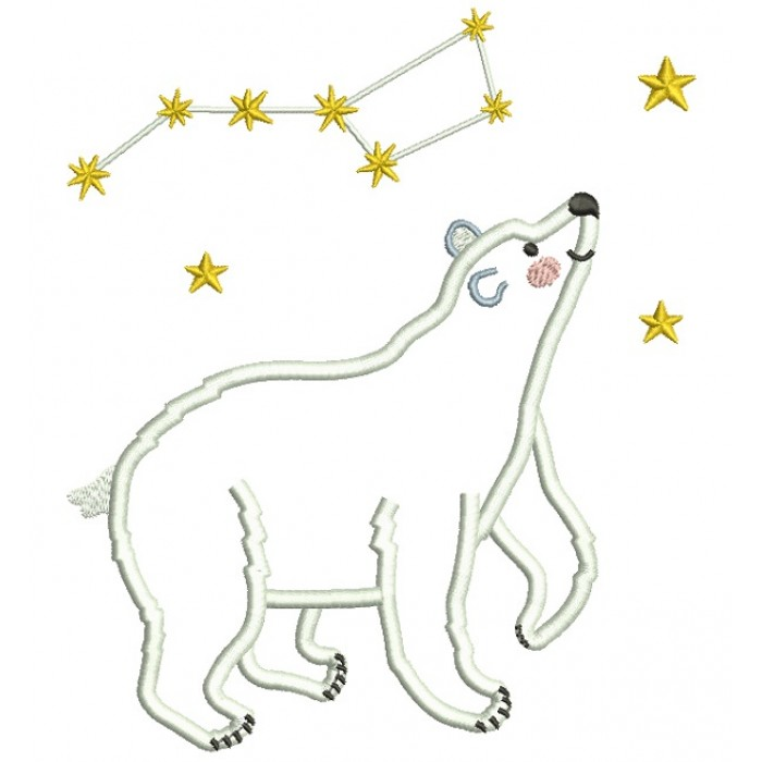 Polar Bear Big Dipper Constellation Applique Machine Embroidery Design Digitized Pattern