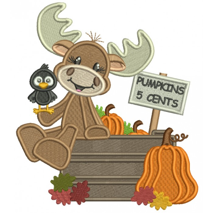 Pumpkins 5 Cents Cute Moose And a Crow Filled Thanksgiving Machine Embroidery Design Digitized Pattern