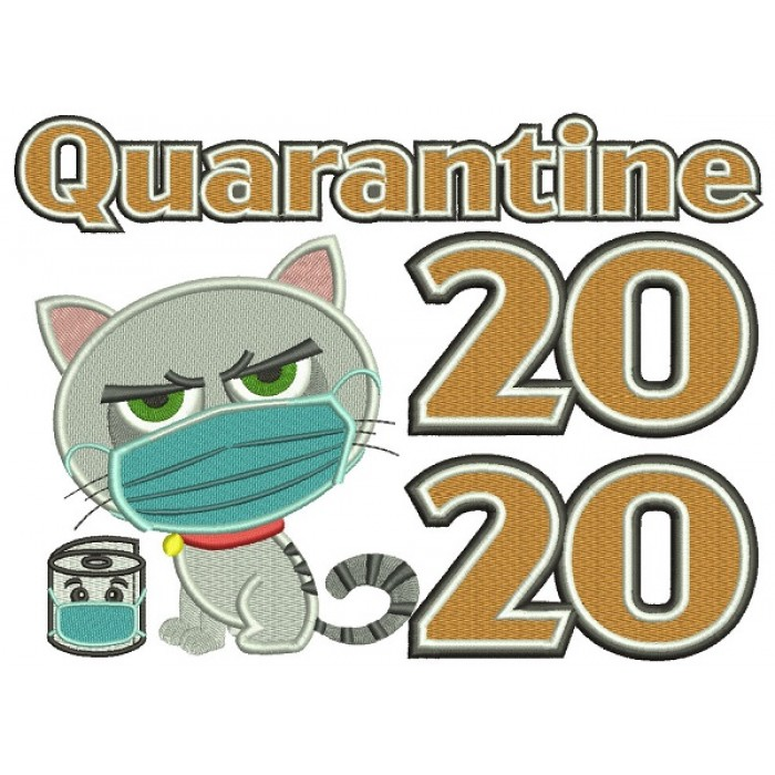 Quarantine 2020 Cat Wearing a Mask Filled Machine Embroidery Design Digitized Pattern