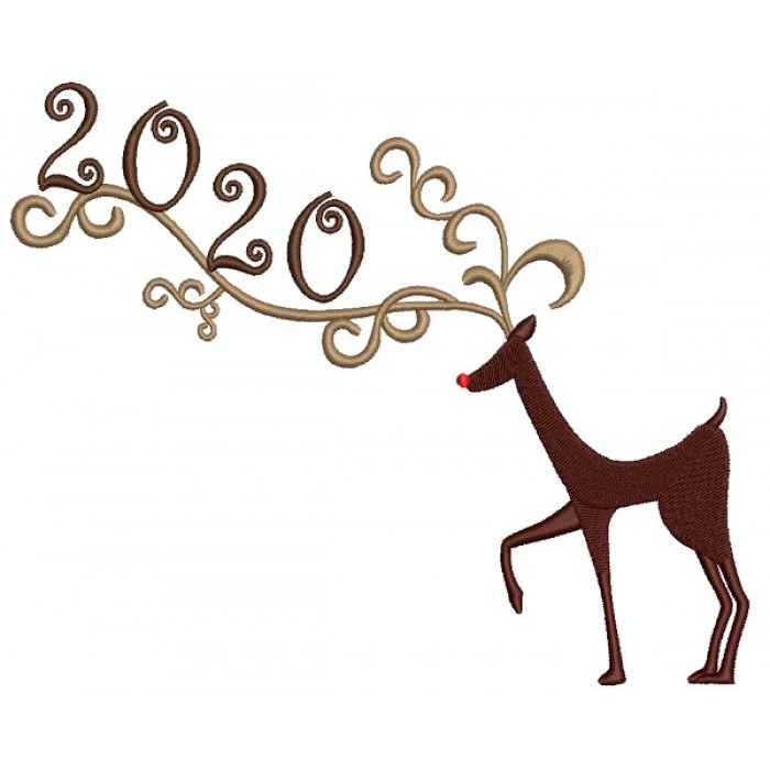 Reindeer 2020 New Year Filled Machine Embroidery Design Digitized Pattern