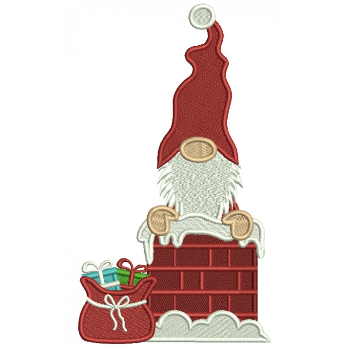 Santa In The Chimney Filled Christmas Machine Embroidery Design Digitized Pattern