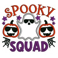 Spooky Squad Ghost And Pumpkins Halloween Applique Machine Embroidery Design Digitized Pattern