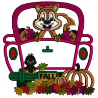 Squirrel Sitting In A Truck With Pumpkins Fall Applique Machine Embroidery Design Digitized Pattern