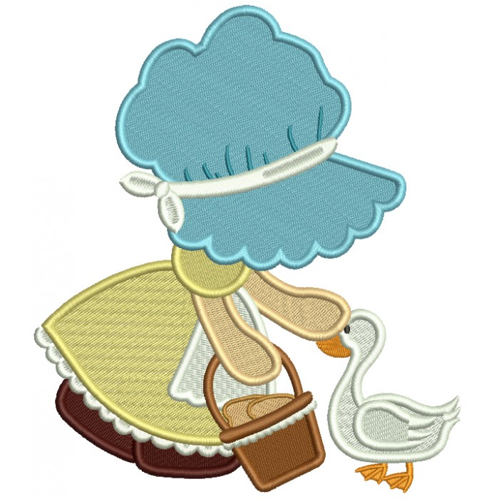 Sunbonnet Doll With a Goose Filled Machine Embroidery Design Digitized