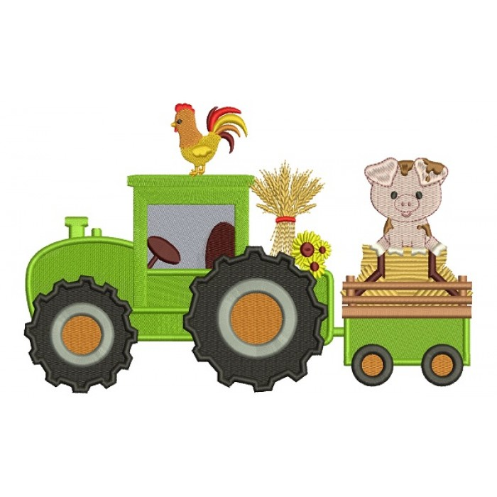 Tractor With a Piggy And Rooster Fall Filled Thanksgiving Machine Embroidery Design Digitized Pattern