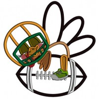 Turkey Football Player Hugging a Football Thanksgiving Applique Machine Embroidery Design Digitized Pattern