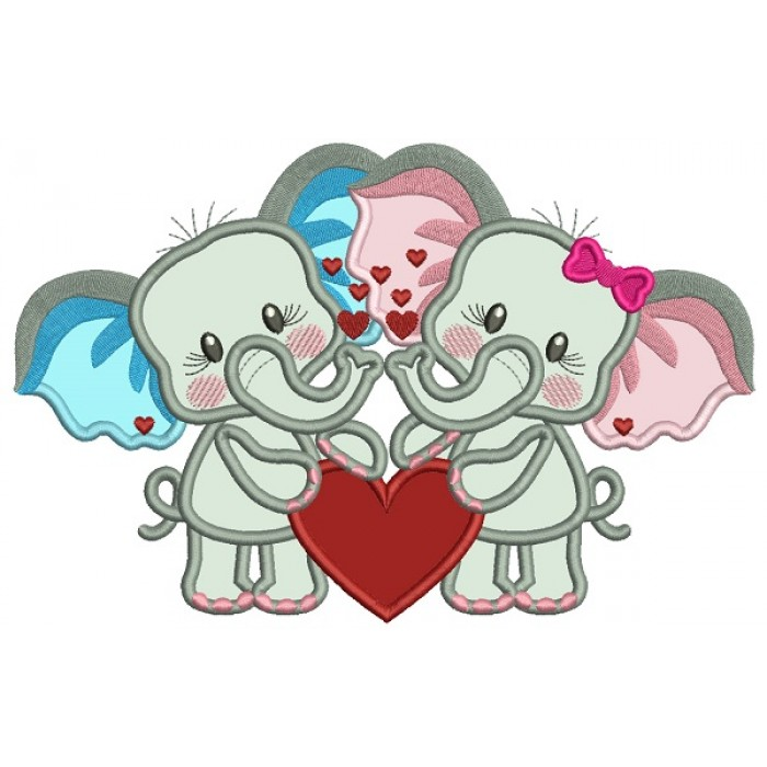 Two Cute Baby Elephants Holding a Hearts Applique Valentine's Day Machine Embroidery Design Digitized Pattern