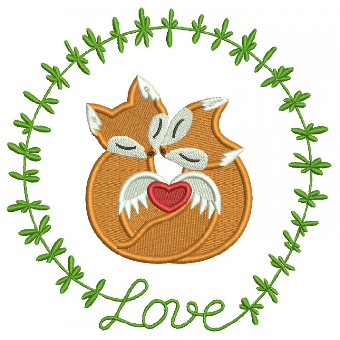 Two Foxes In Love Ornamental Frame Filled Machine Embroidery Design Digitized Pattern