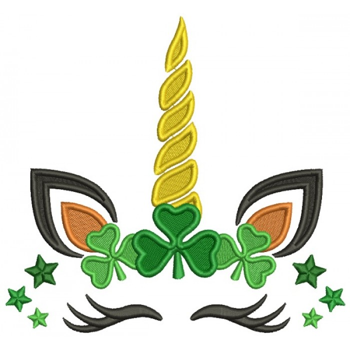 Unicorn With Shamrock Filled St. Patrick's Day Machine Embroidery Design Digitized Pattern
