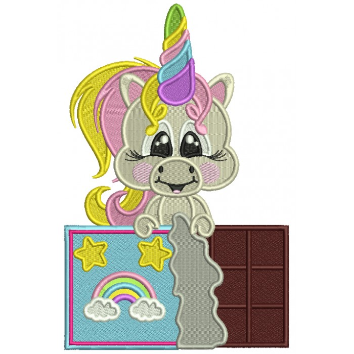 Unicorn With a Chocolate Bar Filled Machine Embroidery Design Digitized Pattern