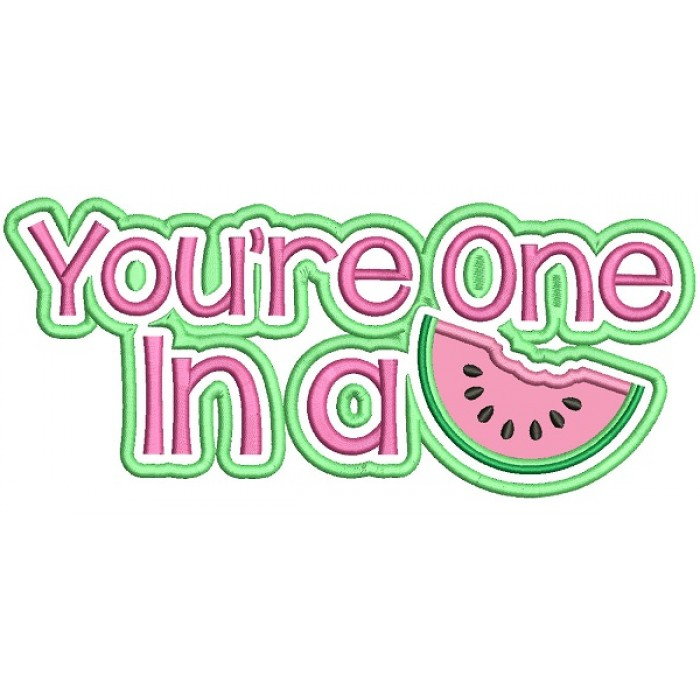 You're One In A Melon With Big Slice Applique Machine Embroidery Design Digitized Pattern