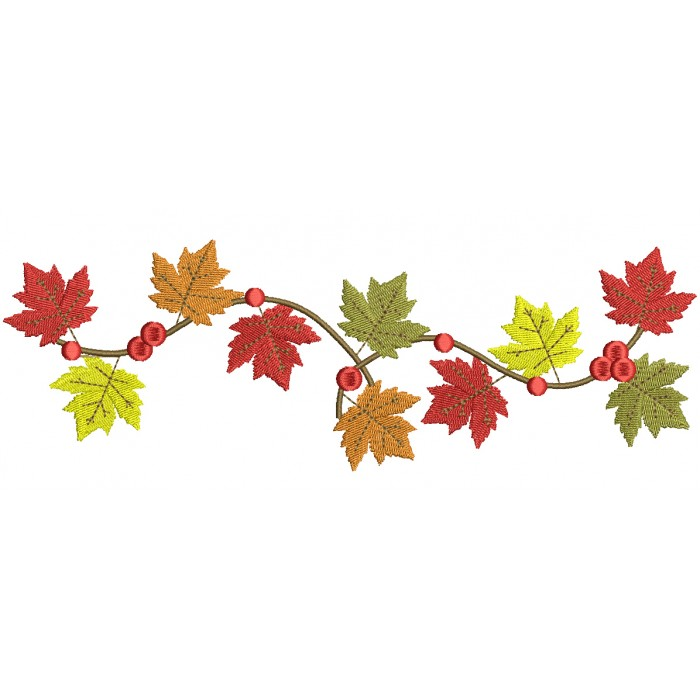Autumn Leaves Fall Filled Machine Embroidery Design Digitized Pattern