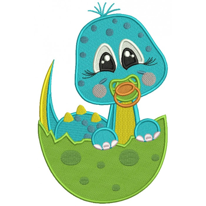 Baby Dinosaur Hatching From The Egg Filled Machine Embroidery Design Digitized Pattern